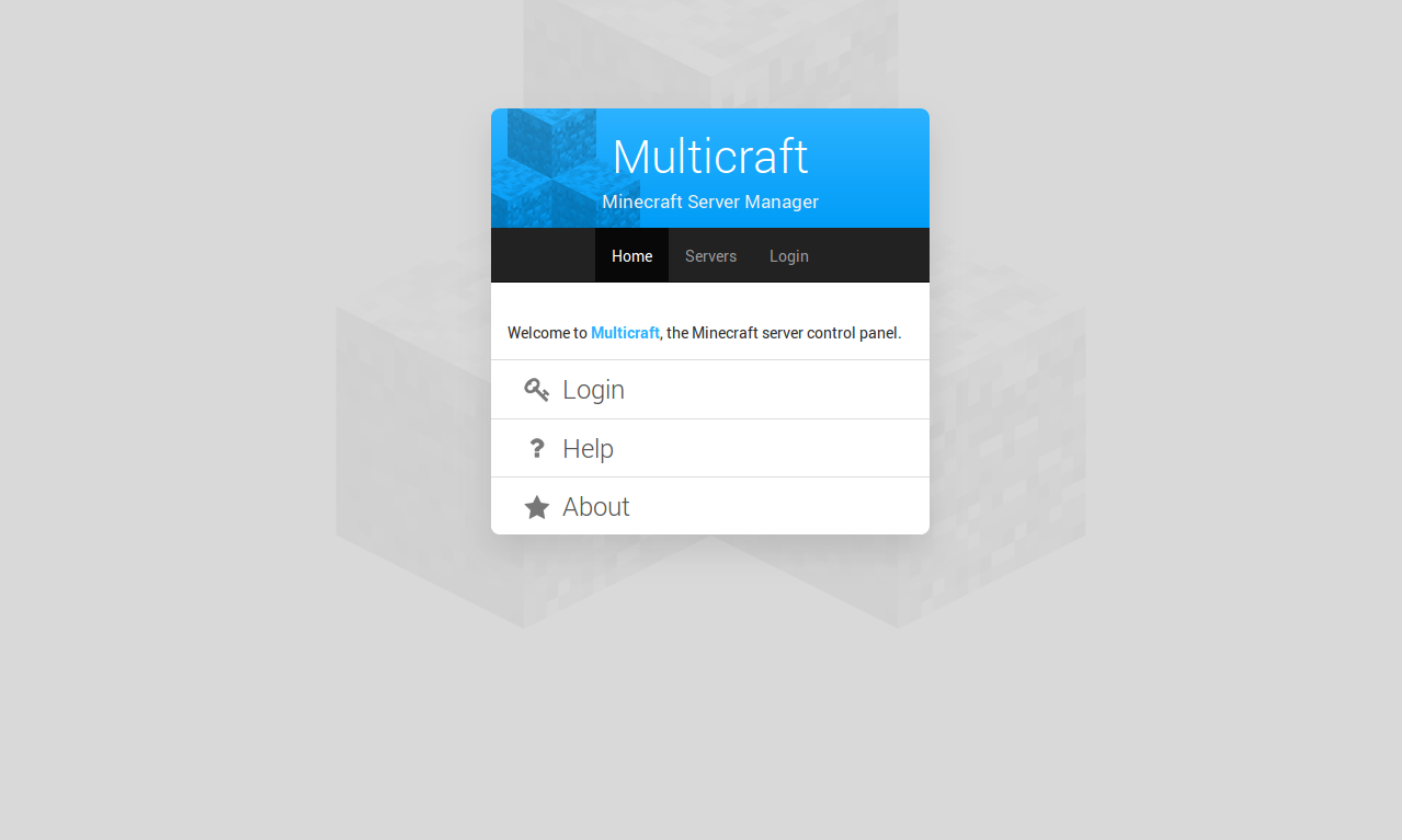 Multicraft Welcome Page